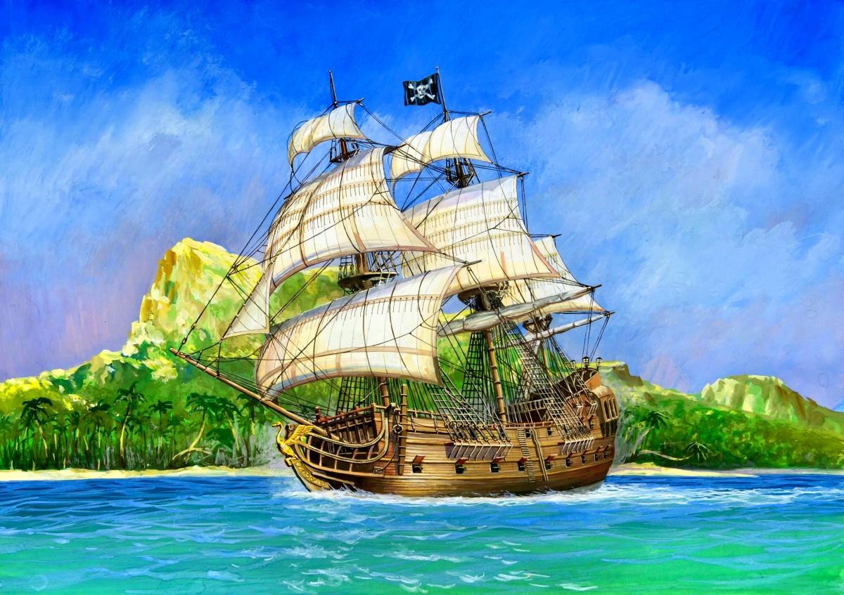 Пазл Собирать пазлы онлайн - Пиратский парусник