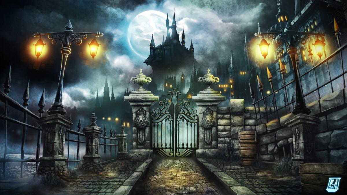 Пазл Собирать пазлы онлайн - Полнолуние и замок
