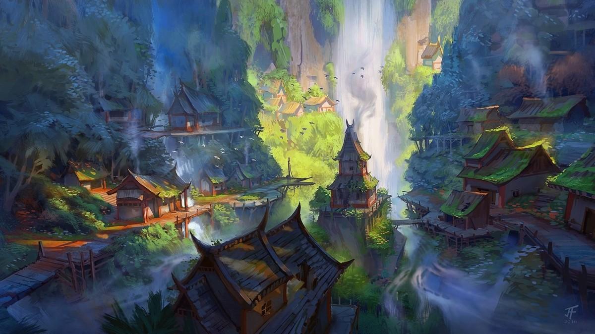 Пазл Собирать пазлы онлайн - Поселение у водопада