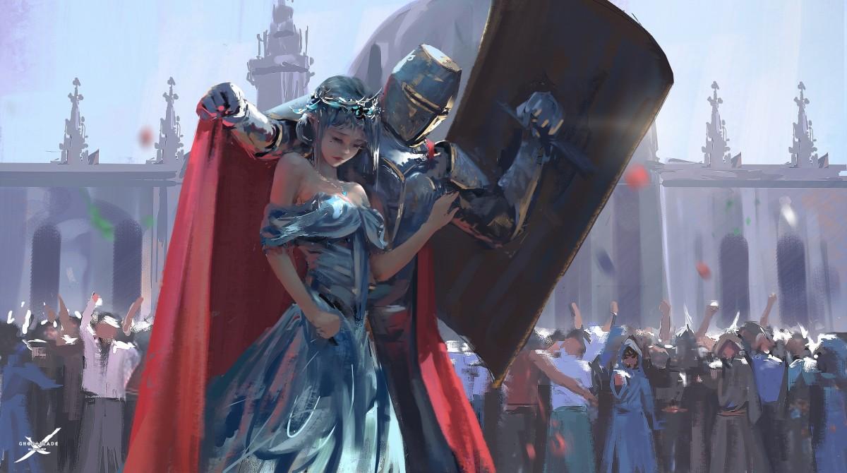 Пазл Собирать пазлы онлайн - Принцесса и рыцарь