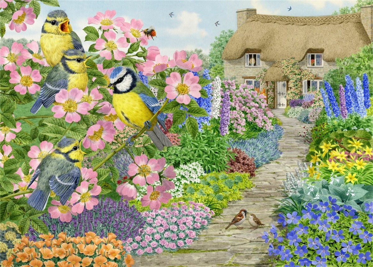 Пазл Собирать пазлы онлайн - Птички в саду