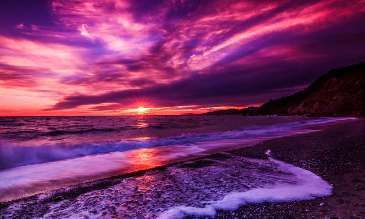 Пазл Собирать пазлы онлайн - Purple sunset