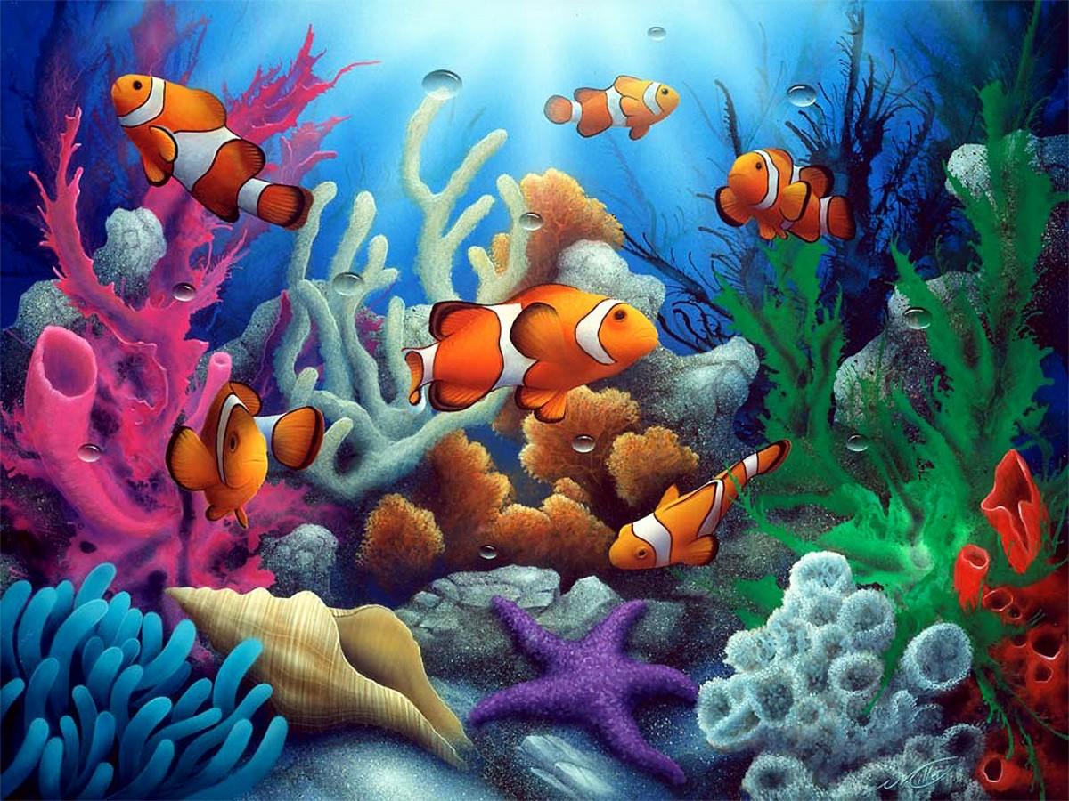 Пазл Собирать пазлы онлайн - Рыбы и кораллы