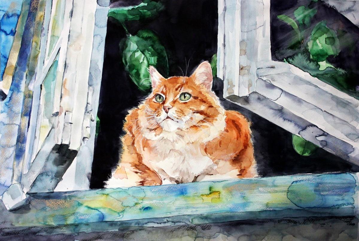 Пазл Собирать пазлы онлайн - Рыжий кот на окне