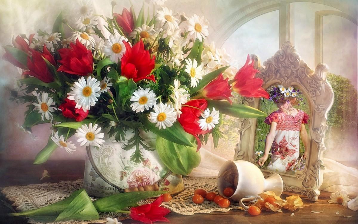 Пазл Собирать пазлы онлайн - Ромашки и тюльпаны