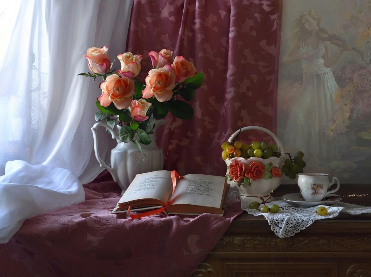 Пазл Собирать пазлы онлайн - Розы и книга
