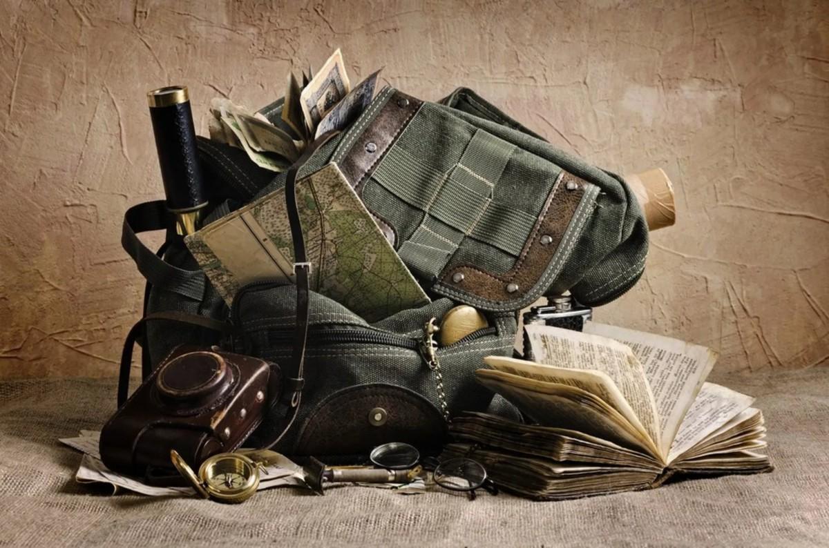 Пазл Собирать пазлы онлайн - Рюкзак и карты