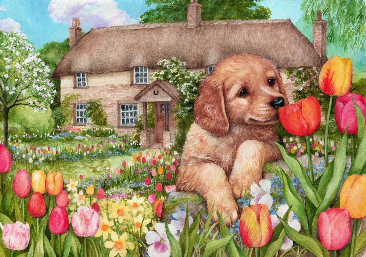 Пазл Собирать пазлы онлайн - Щенок и тюльпаны