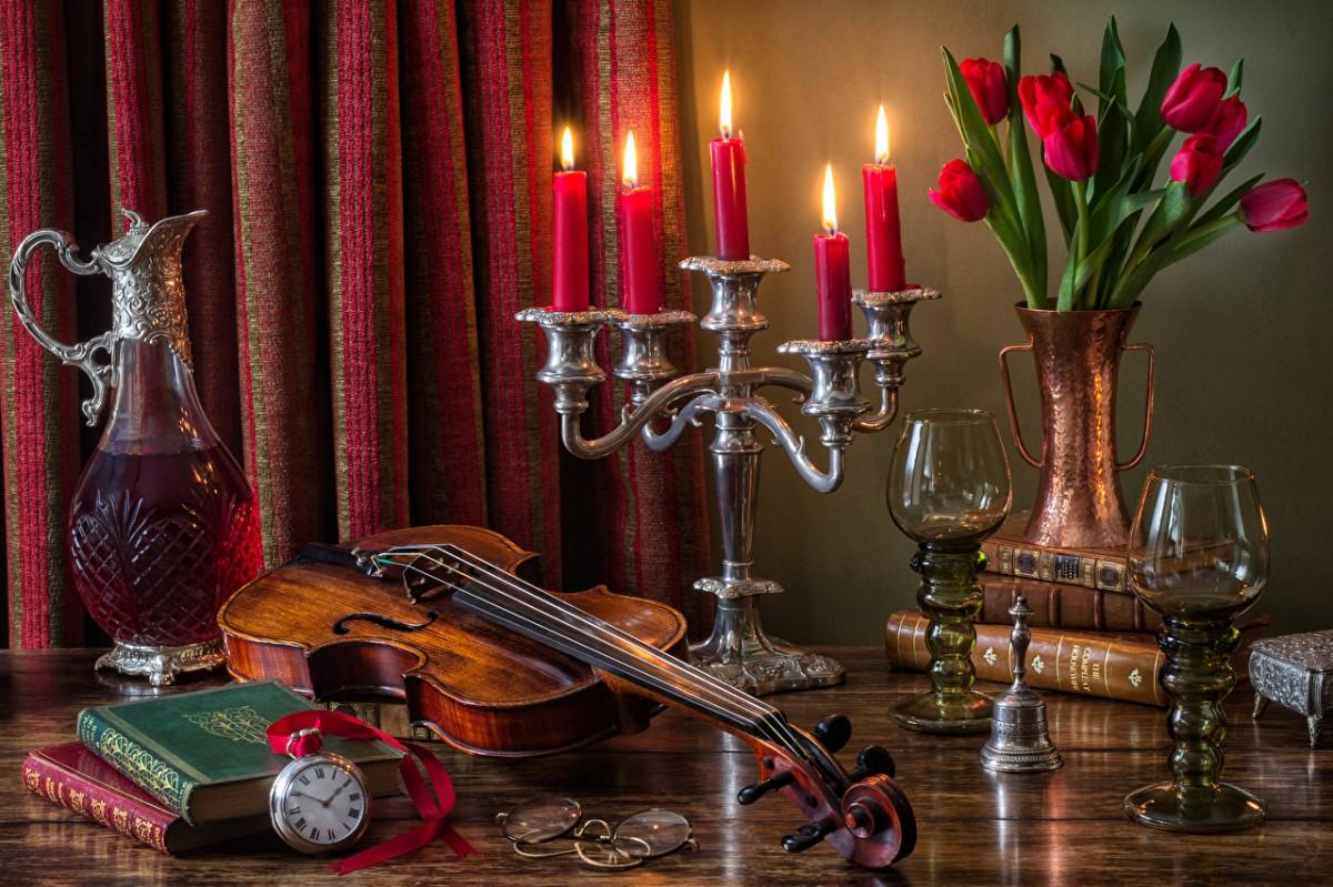 Пазл Собирать пазлы онлайн - Скрипка и свечи