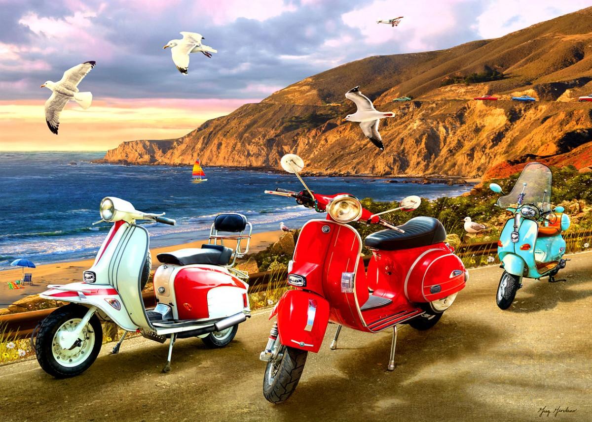 Пазл Собирать пазлы онлайн - Скутеры на берегу