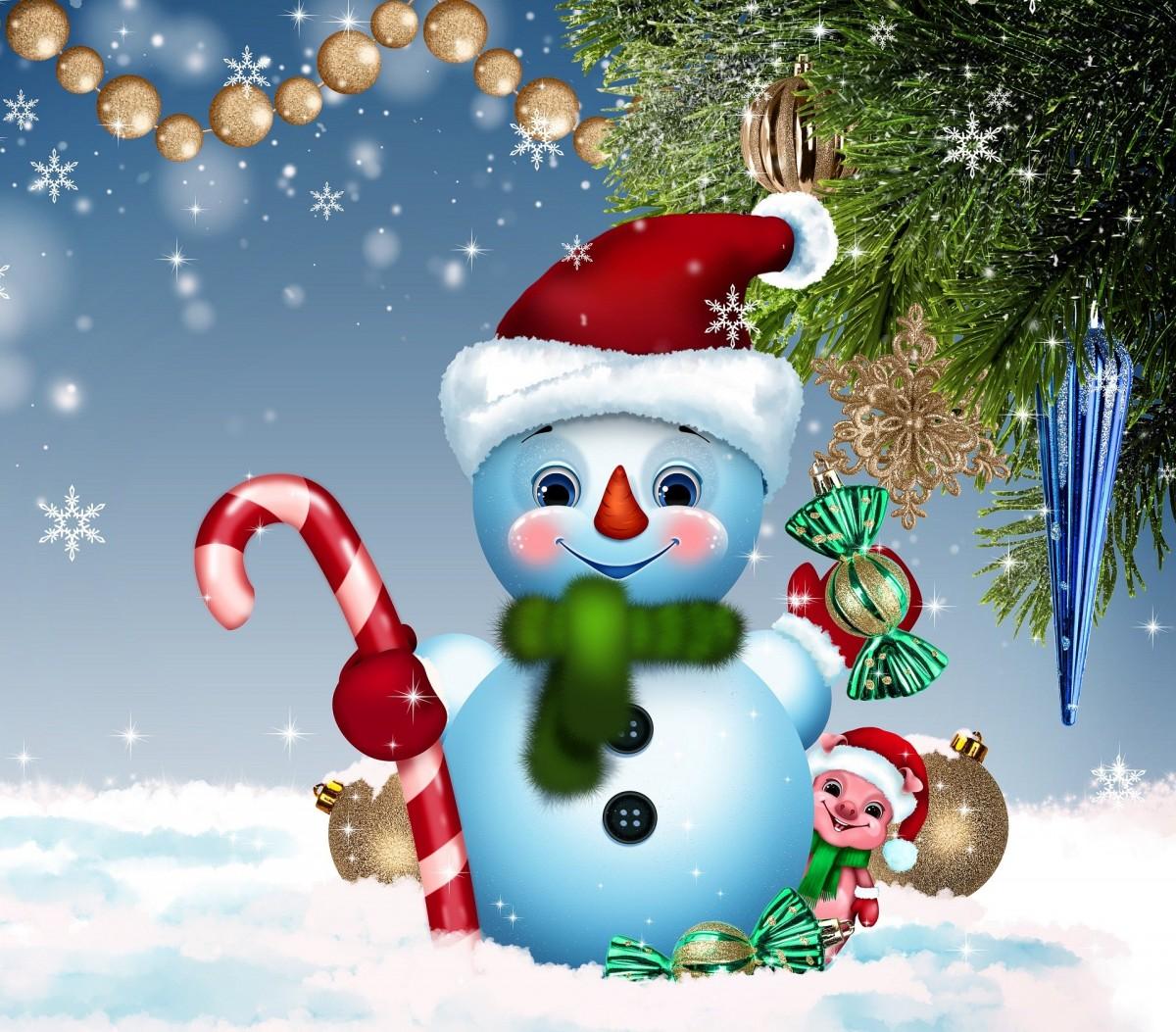 Пазл Собирать пазлы онлайн - Снеговик и поросёнок