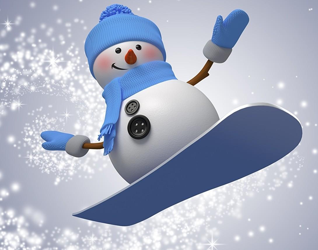 Пазл Собирать пазлы онлайн - Снеговик-сноубордист