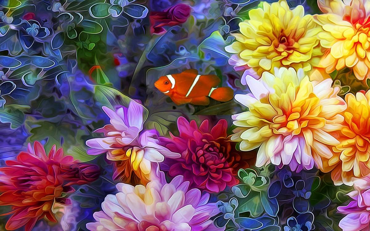 Пазл Собирать пазлы онлайн - Среди цветов
