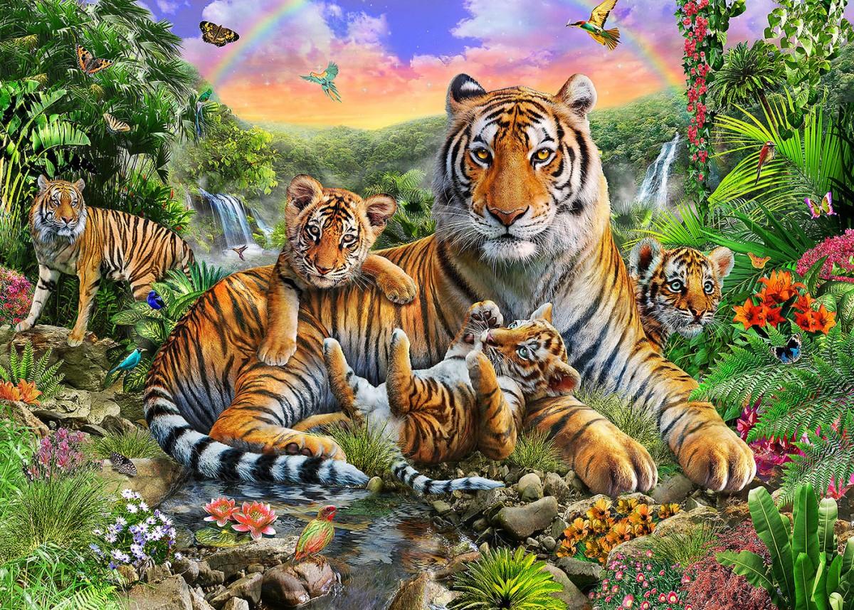 Пазл Собирать пазлы онлайн - Тигриное семейство