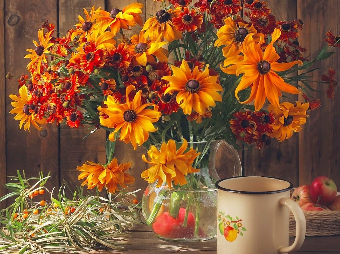 Пазл Собирать пазлы онлайн - Цветы в вазе