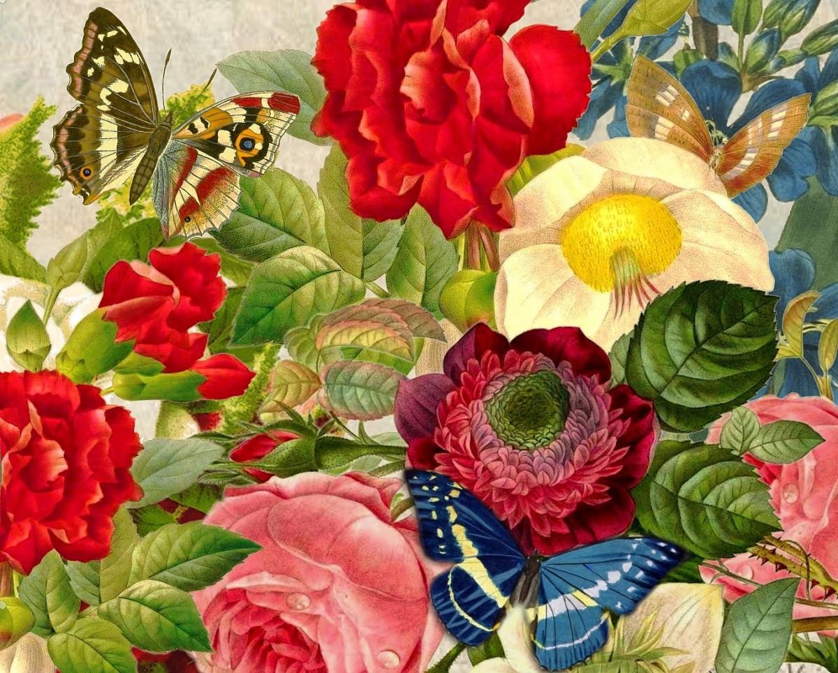 Пазл Цветы и бабочки