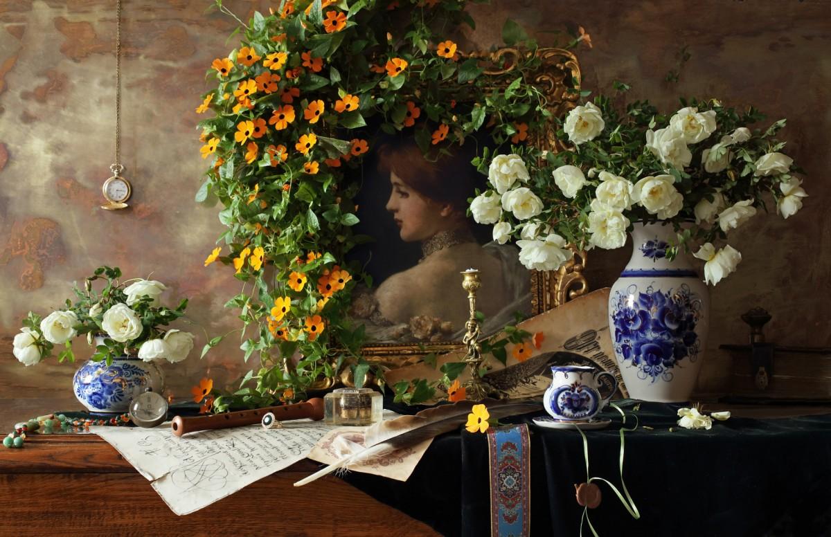 Пазл Собирать пазлы онлайн - Цветы и портрет