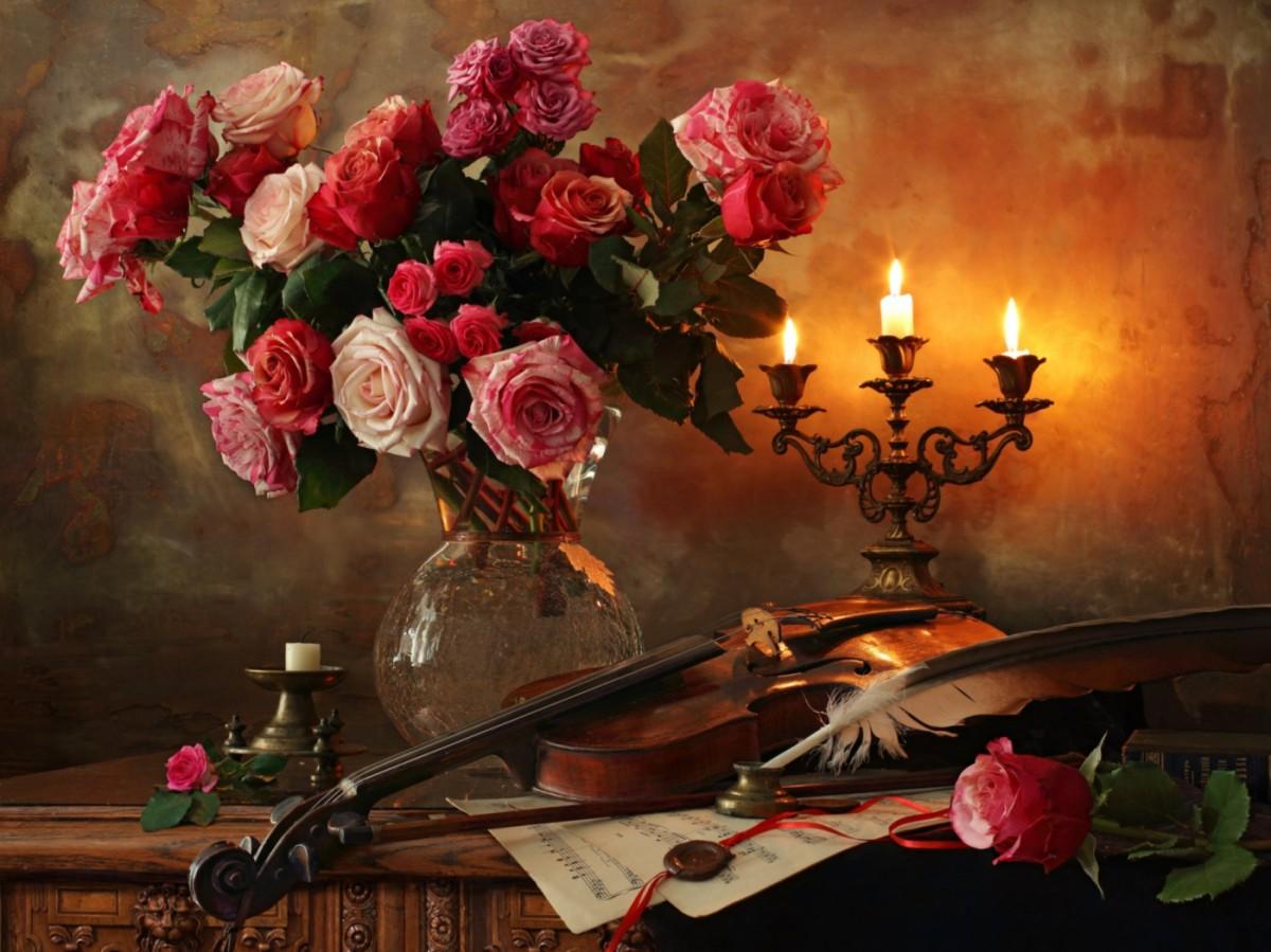 Пазл Собирать пазлы онлайн - Цветы и свечи