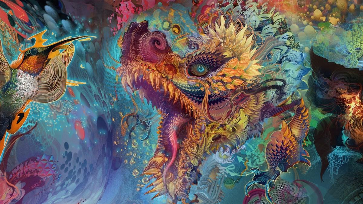 Пазл Собирать пазлы онлайн - Цветной дракон