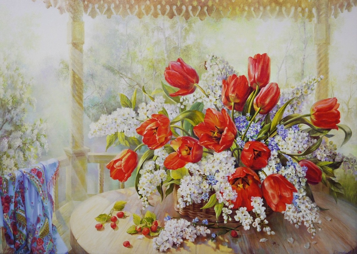 Пазл Собирать пазлы онлайн - Тюльпаны и черемуха