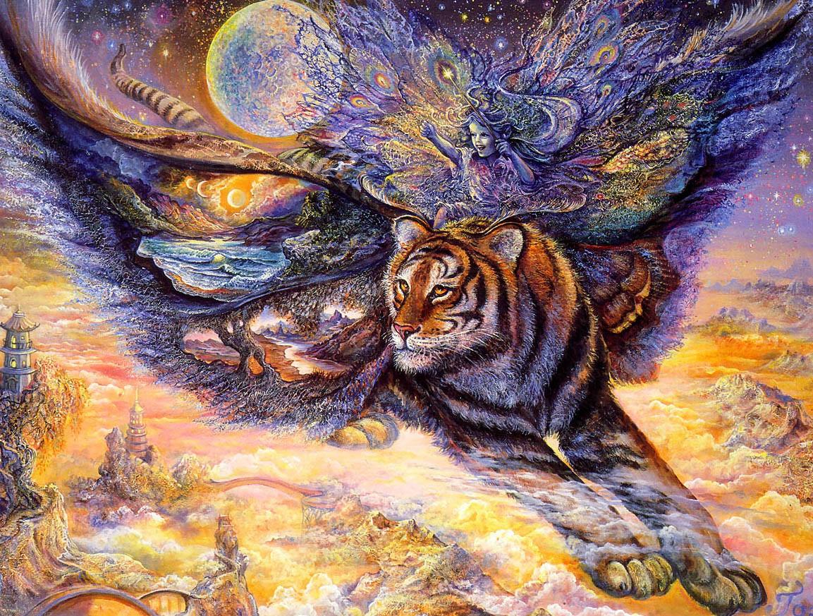 Пазл Собирать пазлы онлайн - Верхом на тигре