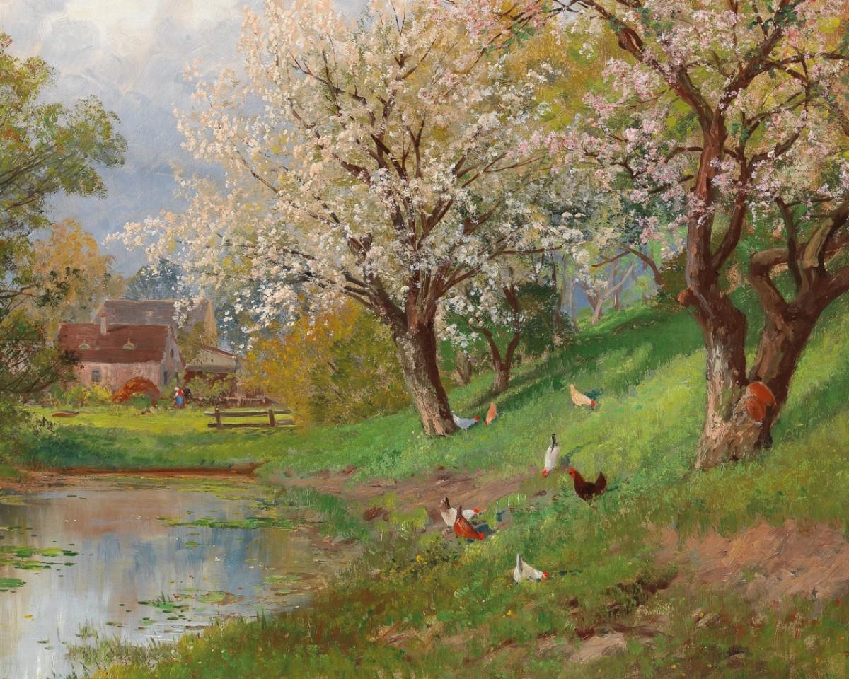 Пазл Собирать пазлы онлайн - Весна в деревне