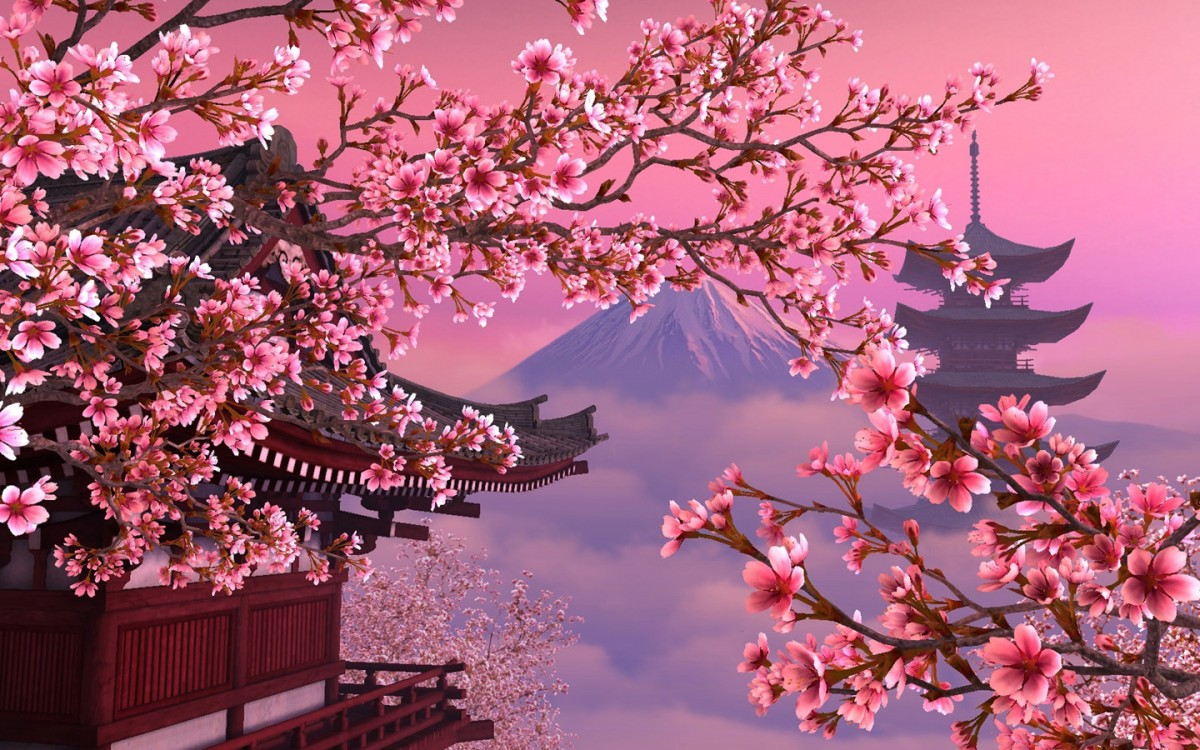 Пазл Собирать пазлы онлайн - Весна в Японии