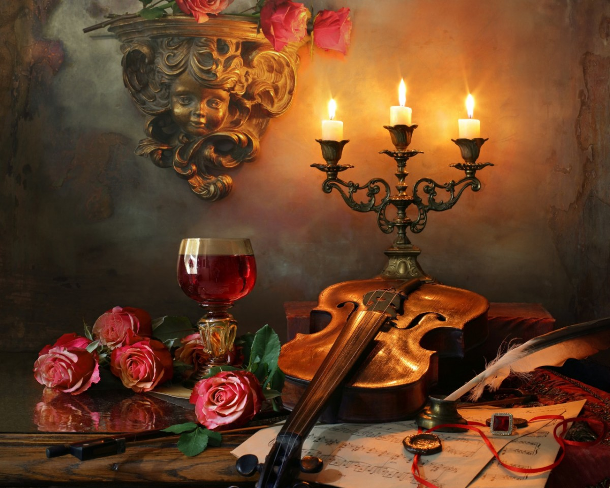 Пазл Собирать пазлы онлайн - Вино и свечи