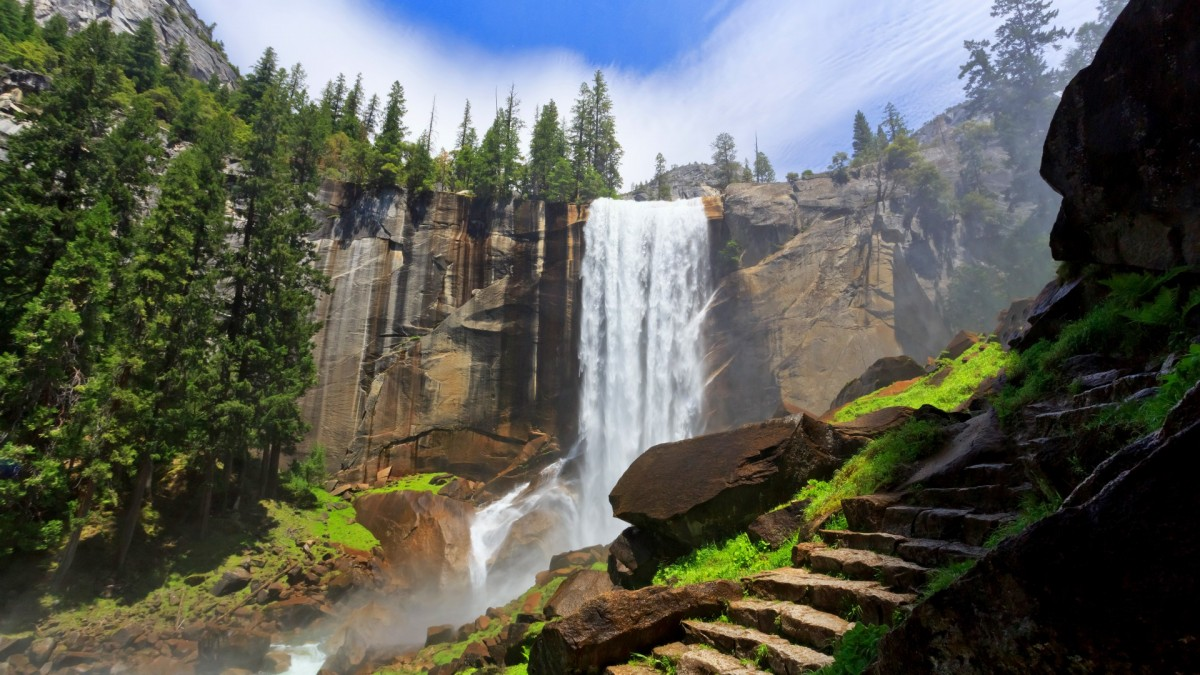 Пазл Собирать пазлы онлайн - Водопад и ступени