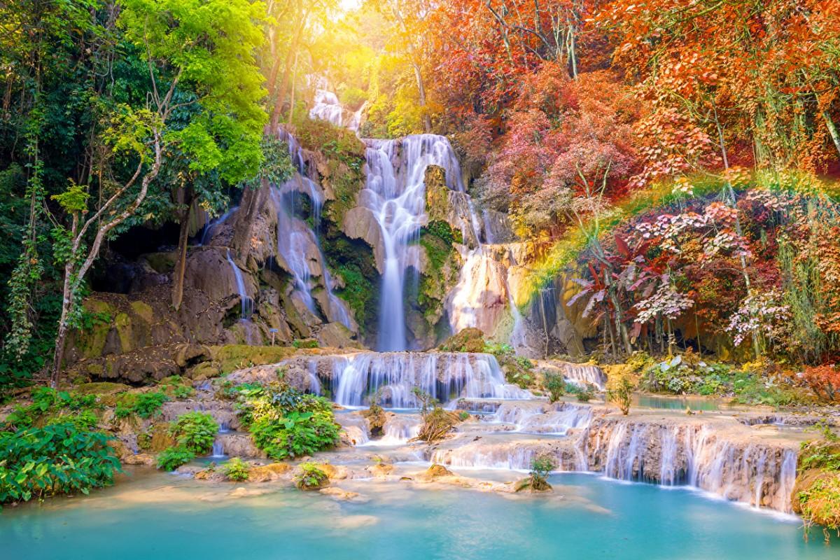 Пазл Собирать пазлы онлайн - Водопад в тропиках