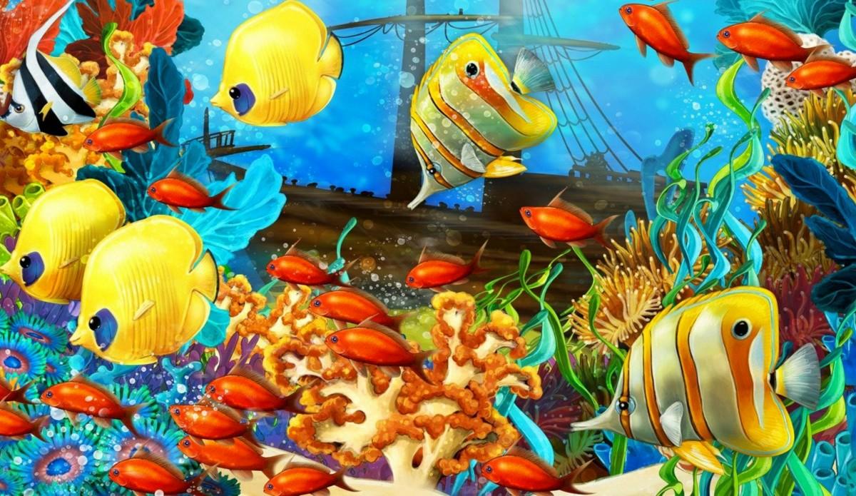 Пазл Собирать пазлы онлайн - Яркий подводный мир