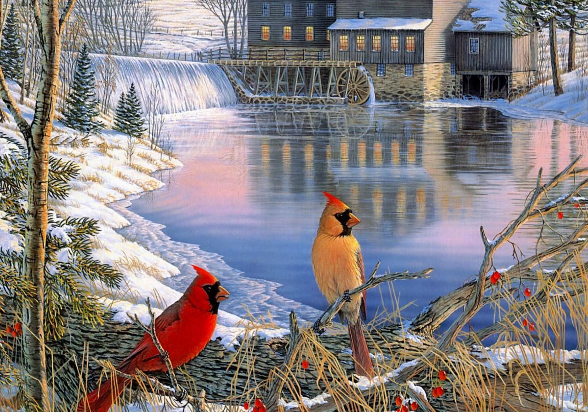 Пазл Собирать пазлы онлайн - Зимний день