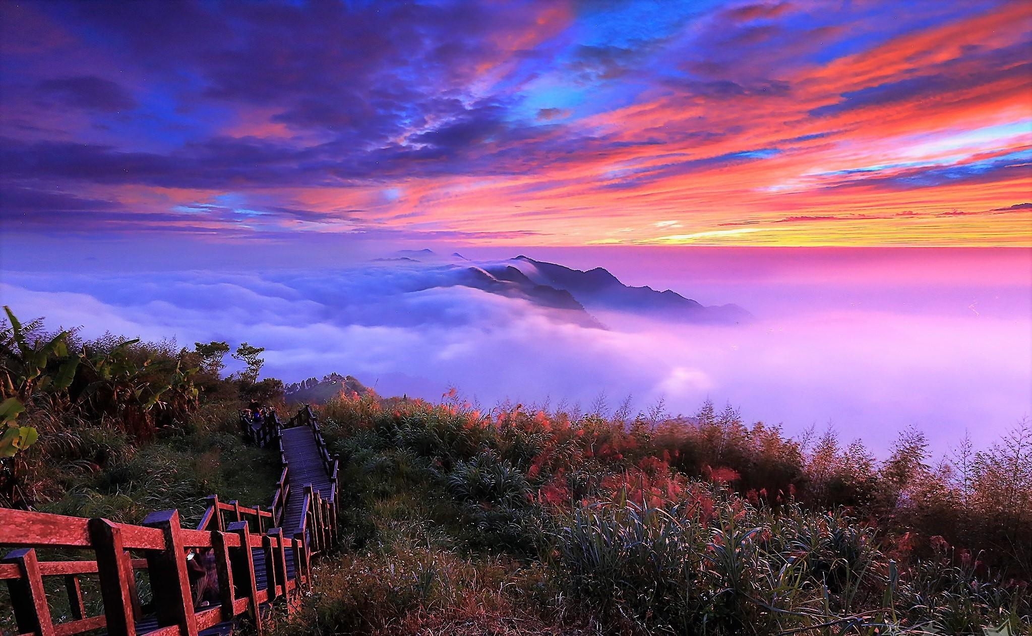 горы, закат, туман загрузить