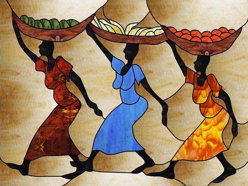 Пазл Собирать пазлы онлайн -  Африканки витраж