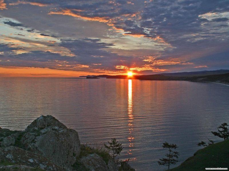 Пазл Собирать пазлы онлайн -  Байкал на закате