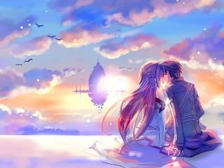 Собирать пазл Поцелуй в облаках онлайн