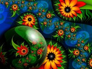 Собирать пазл Абстрактные цветы онлайн