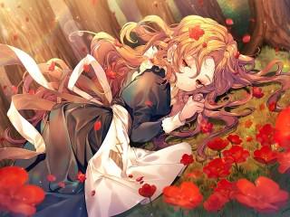 Собирать пазл Алые цветы онлайн