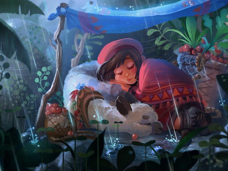 Пазл Собирать пазлы онлайн - Альпака и девочка