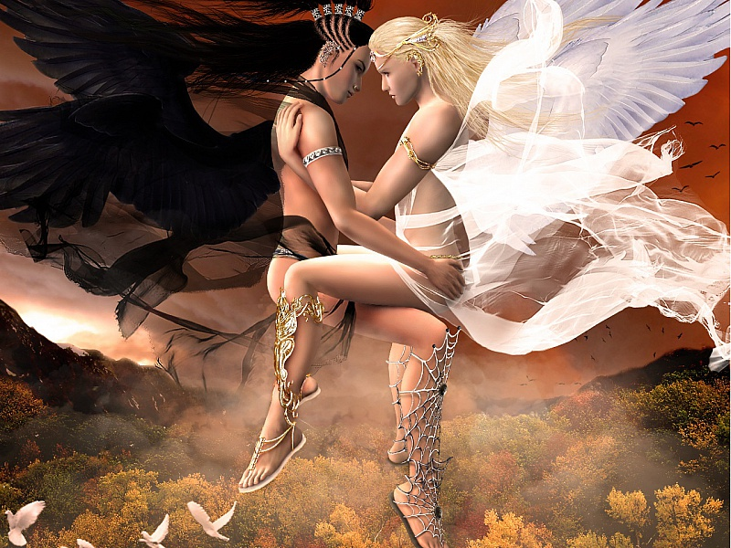 Пазл Собирать пазлы онлайн - Ангел и демон