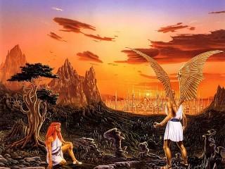 Собирать пазл Ангел и девушка онлайн