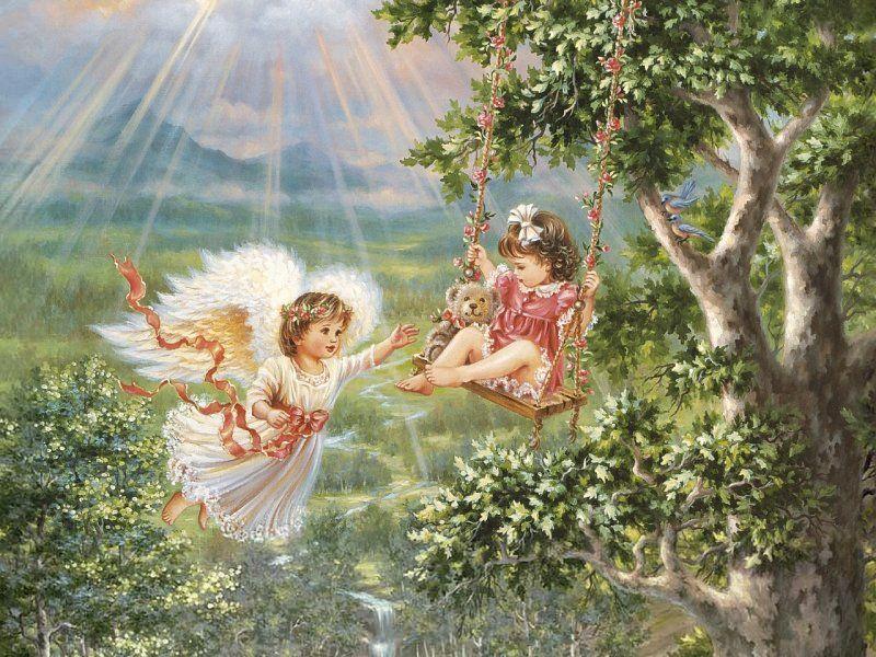Пазл Собирать пазлы онлайн - Ангел и малышка