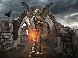 Собирать пазл Ангел и свеча онлайн