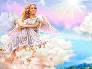 Собирать пазл Ангел на облаке онлайн