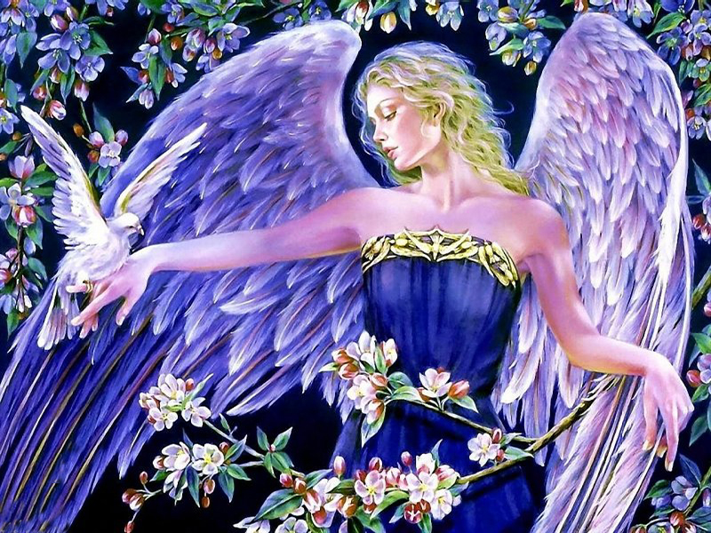 Пазл Собирать пазлы онлайн - Ангел с голубем