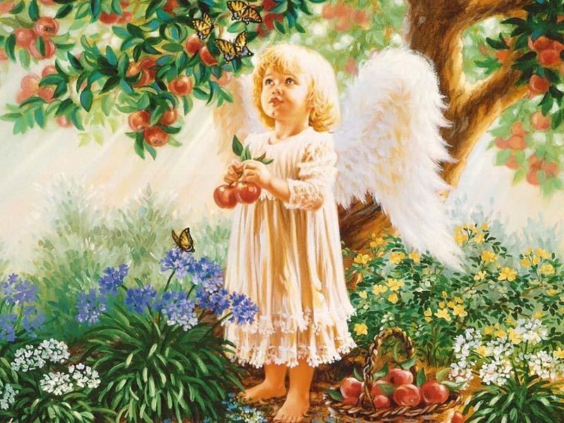 Пазл Собирать пазлы онлайн - Ангел с яблоками