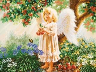 Собирать пазл Ангел с яблоками онлайн