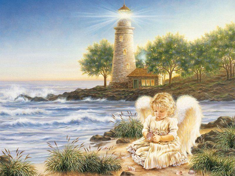Пазл Собирать пазлы онлайн - Ангел у моря