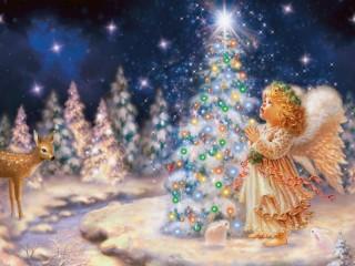 Собирать пазл Ангелочек возле елки онлайн
