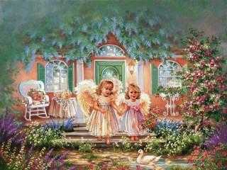 Собирать пазл Ангелочки у дома онлайн